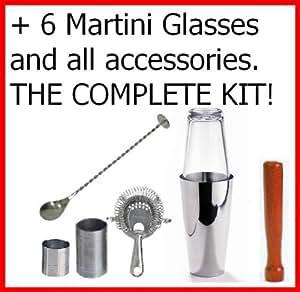 MEGA Boston Shaker à Cocktail! Inclus: Kit/Set de 6 verres à Martini et tous les accessoires 17 pièces.