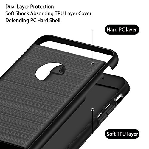 Cover iPhone 7,Custodia iPhone 7,Cheeringary [Finitura Spazzolata] Hybrid Doppio Strato Shock Absorption 360° Protettiva Custodia per iPhone 7 Heavy Duty Bumper Slim Fit Hard Phone Case for iPhone 7 ( Nero