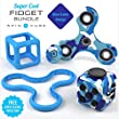 Fidget Spinner Toy With Integrated Silicone Protector & Fidget Cube Bundle | Premium Specialized Steel Bearings | High Speed Up To Max 4 Minutes Spin | Stress, Anxiety Reducer | New Unique Design for Adults and Kids