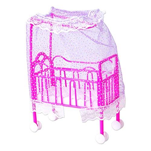 Bebé de plástico en miniatura Cama Dollhouse juguete Mobiliario de dormitorio apto para muñecas Barbie