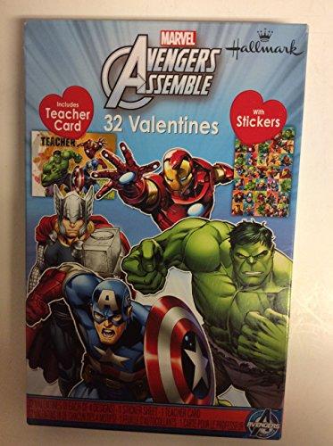 Marvel Avengers Assemble 32Valentines mit Aufkleber inkl. Lehrer Karte