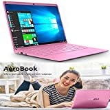 PC Ordinateur Portable Pas Chers Windows 10, 14.1 Pouces FHD IPS Écran Résolution de 1920x1080 Pixels Intel HD Graphics Quad Core Laptop Notebook Intel 2Go RAM 32Go eMMC/500Go WiFi:5,0 GHz (Rose)