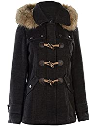 Ladies Stylish Winter Classic Full Zip Duffle Coat (Charcoal, 18(XXL))