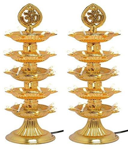 Varshine® Premium 5 Layer New Electric Gold LED Bulb Lights Diya|Deep|Deepak for Pooja|Puja|Mandir| Diwali Festival Decoration||Pack of 2|| D-03  available at amazon for Rs.399
