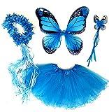 Tante Tina - Schmetterling Kostüm für Mädchen - 4-Teiliges Set - Feenflügel / Schmetterlingsflügel Verkleiden - Monarchfalter Blau