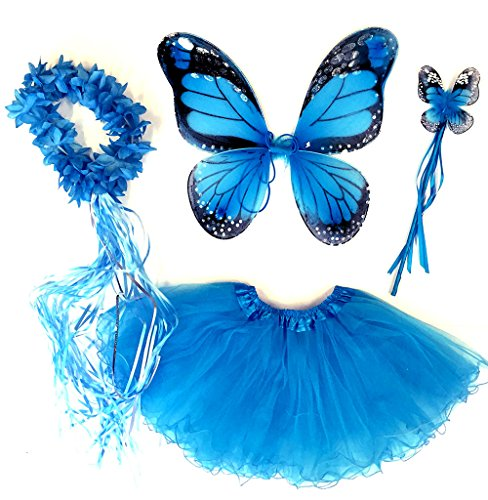 Tante Tina - Schmetterling Kostüm für Mädchen - 4-teiliges Set - Feenflügel / Schmetterlingsflügel Verkleiden - Monarchfalter - Blauer Schmetterling Flügel Kostüm