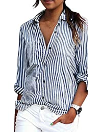 Vertvie Femme Chemisier à Rayure Verticale Style OL Chemise Blouse Shirt Casual Lisse Top
