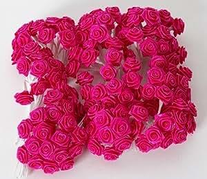 Confezione di 144 rose roselline orlate color fucsia utilizzabili per bomboniere o composizioni