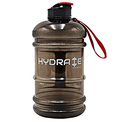 NEW RELEASE High Quality 2.2 Litre Water Bottle - Now With Easy Drink Cap, Durable & Extra Strong - BPA Free - Ideal for: Gym, Dieting, Bodybuilding, Outdoor Sports, Hiking & Office - 100% Satisfaction Guarantee by iGadget Sports (Black)