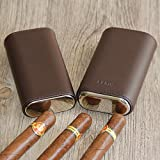 Vera pelle 3tubo in legno sigaro custodia/Holder Travel Humidor