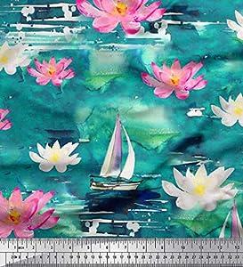 yates 10 metros: Soimoi Verde Jersey de algodon Tela Yate y nenúfar flor tela estampada de 1 metr...