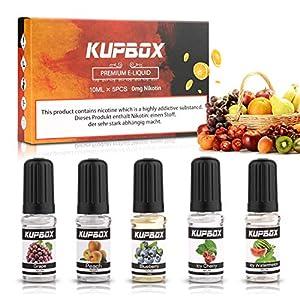 Kupbox E Liquids ohne Nikotin, E-liquid 5 x 10ml, E Zigarette Liquid Set 70VG/30PG, Blaubeere |Traube |Ice Wassermelone |Saftiger Pfirsich|Ice Kirsche Geschmack EJuice Nikotinfrei, 5er Pack
