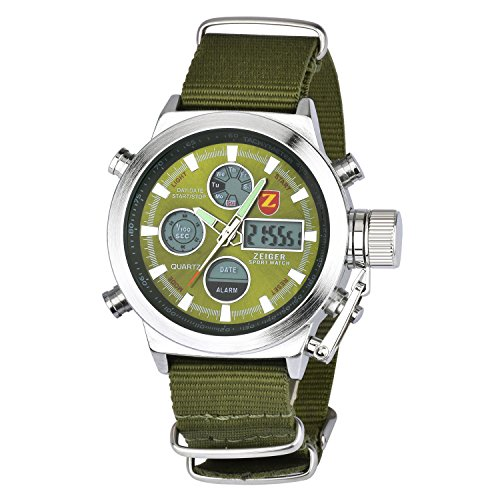 Zeiger W220 - Reloj deportivo para hombre de cuarzo con doble zona horaria, cronometro, alarma y cronografo
