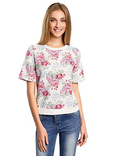 oodji Collection Damen Sweatshirt mit Kurzen Ärmeln, Mehrfarbig, DE 44 / EU 46 / XXL (Floral Elasthan Jeans)
