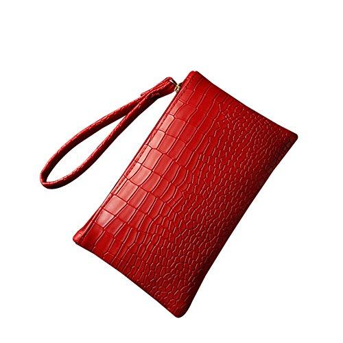 Fashion Pu-clutch, Handtaschen (Daliuing Lange Geldbörse mit Wristlet Fashion PU Leder Clutch Handtasche Coin Geldbörse Beutel Klein Tasche Geschenk für Frauen Mädchen, Rot, 19.5 * 11.5cm)