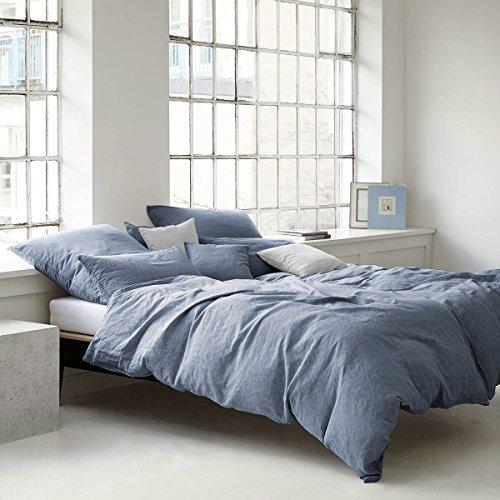 elegante Leinen Bettwäsche Breeze Ocean 1 Bettbezug 135x200 cm + 1 Kissenbezug 80x80 cm