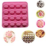 Silikonform, BZLine® Katze Pfotenabdruck Silikon Cookie Kuchen Süßigkeiten Schokoladenform