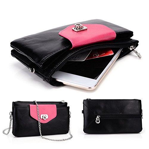 Kroo Link série universel sac à bandoulière avec rabat femme, compatible avec de nombreux 4à 5inch étui pour samsung/nokia/Prestigio/Sony/VIEWSONIC Cell Phone multicolore Hot pink Navy Blue Black Hot Pink