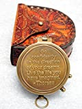 Thoreau's Go Confidently Kompass mit Gravur, mit Lederetui