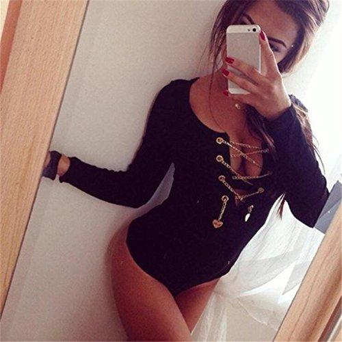 Sannysis Sexy Frauen-Bodysuit Lace Up Tie Stretch Leotard Tops Ropmer Jumpsuit Schwarz