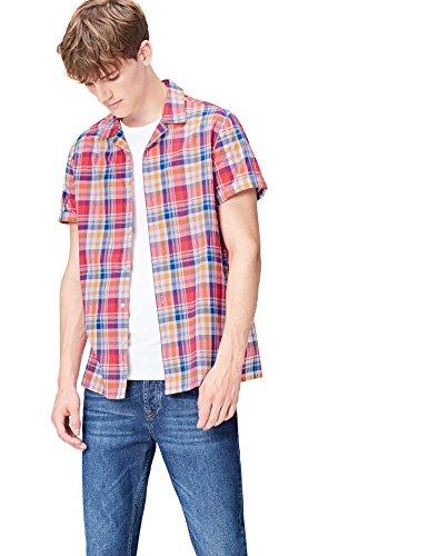 FIND Hemd Herren mit Karomuster und Kurzen Ärmeln, Rot (Red Mix), Large