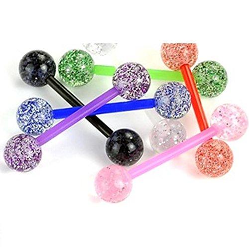 Paula & fritz bioflex piercing per lingua ultra glitter set di 7 l'una un colore plastica flessibile