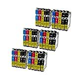 30 Tintenpatronen für Epson T1281 - T1284 für Epson Stylus Office BX 305 FW Plus S22 SX 125 235 435 - Schwarz 14,5ml, Color je 11,5ml