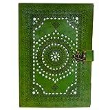 Mad Over Shopping, Cadeau d'entreprise en cuir véritable à la main livre épais écriture journal carnet vert