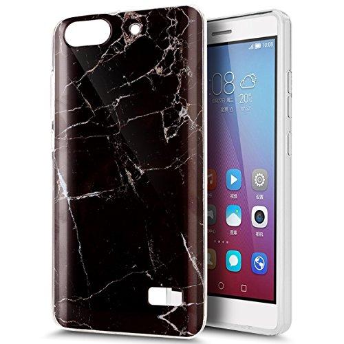 Kompatibel mit Huawei Honor 4C Hülle,Huawei G Play Mini Hülle,ikasus Glänzen Marmor Muster Weich TPU Silikon Hülle Handyhülle Etui Protective Case Cover Schutzhülle für Huawei Honor 4C,Schwarz Marble