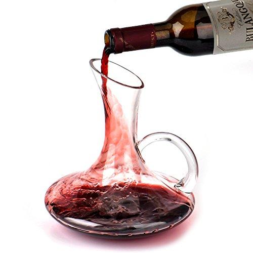 Weinkaraffe,Queta Dekanter Karaffe Hand geblasen Kristall Karaffe mit einer breiten Basis für...