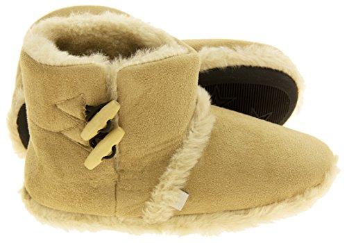 Femmes Coolers chaude hiver faux fourrure doublé bottes à glissière Beige