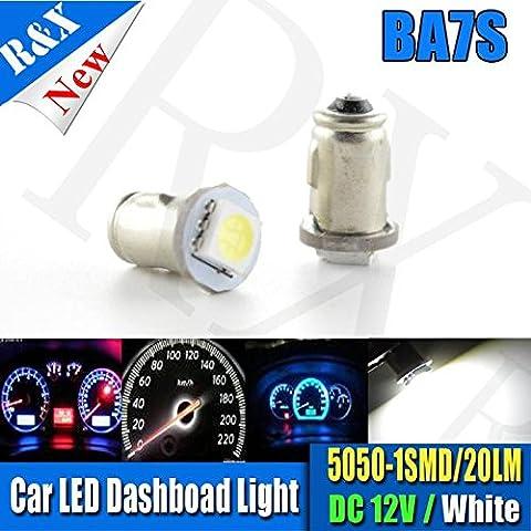 10x BA7S Instrument LED Light 1 LED 5050 SMD 12V DC 20LM Lighting Auto Led Instrument Lamp - White