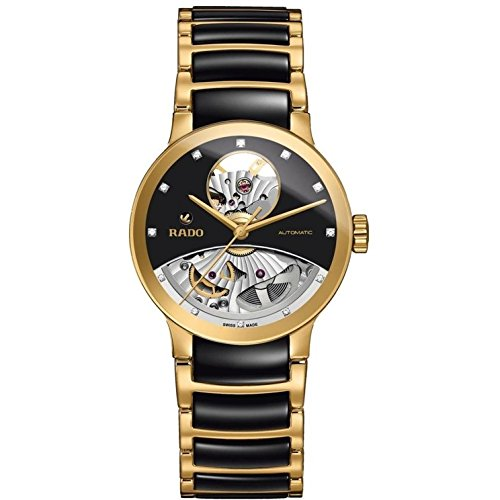 RADO MEN'S 33MM CERAMIC BAND GOLD PLATED CASE AUTOMATIC ANALOG WATCH R30246712