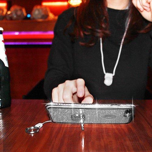 Cover iPhone 6 Plus/6S Plus Glitter Silicone per Ragazze,Kickstand Bling Diamante Brillante Cristallo Lucciante Luminosa Custodia Gel Case per iPhone 6 Plus/6S Plus, 5.5 inch (Trasparente) iPhone 7 Argenta