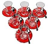 18 tlg. Teeservice Incebelli mit Porland Porzellan Unterteller Alumilite Ergo Rot und klassischen Löffeln