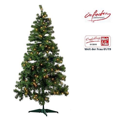 infactory Christbaum: Künstlicher Weihnachtsbaum, grün, 180cm, 465 PVC-Spitzen, 300 LEDs (Kunstbaum)