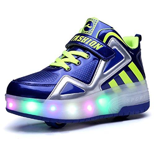 Moquite unisex bambino led scarpe con rotelle automatiche skate formatori sportive ginnastica lampeggiante outdoor multisport running sneaker per ragazze e ragazzi (32 eu, blu(doppia ruota))