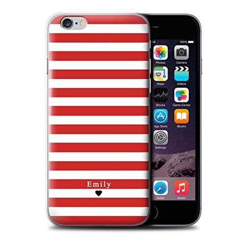 Personalisiert Individuell Streifen/Gestreift Hülle für Apple iPhone 6 / Knickenten Streifen Herz Design / Initiale/Name/Text Schutzhülle/Case/Etui Rot Streifen Herz