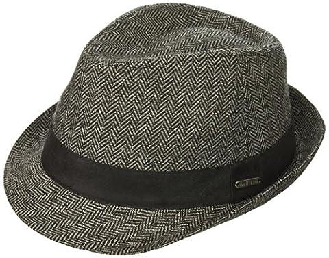 Van Heusen mens Herringbone Men's Fedora Hat, Suede Hat Band Fedora  - gray -