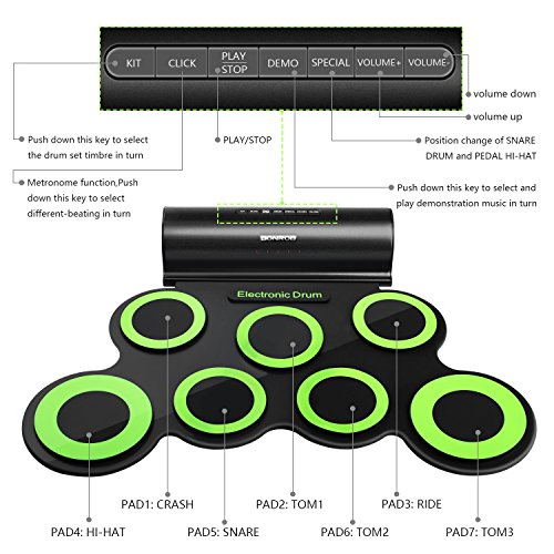 BONROB Batterie Electronique Drum Set, Roll Up percussions Midi Drum Kit avec Casque et Enceintes intégrées Drum Pedals et Baguettes, jusqu'à Lot de 10 Feuilles. Temps de Jeu, Cadeau de Noël Img 2 Zoom