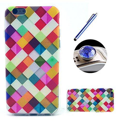Etche TPU Housse pour iPhone 5C,Étui Coque Housse Pour iPhone 5C,coloré imprimé couvercle du boîtier de caoutchouc de silicone pour iPhone 5C + 1x Bleu style + 1x Bling poussière plug (couleurs aléato Pattern #7