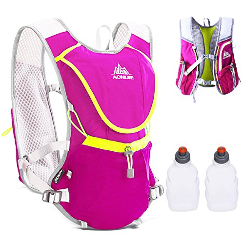 triwonder Professional Outdoor Mochilas Trail Marathoner Running Race Hydration Weste Hydration Pack Rucksack Rose Red - with 2 Water Bottles