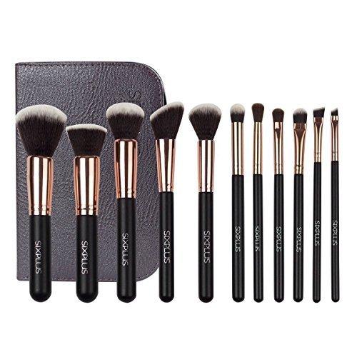Sixplus Pinceaux de maquillage Cosmetics Professional Essential 11 pièces Royal Doré Maquillage Kits de brosse de maquillage avec sac et étui (Doré)