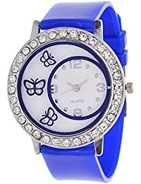 Unique Hunt Watch BUTTERFLY GLASS Analog Watch For Women And Girls - Blue