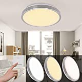 VINGO® 16W LED Deckenleuchte Farbwechsel Kaltweiß Warmweiß Neutralweiß 3 in 1 Badlampe Wohnzimmerlampe Vernickelung Rund Energiespar Deckenbeleuchtung IP44