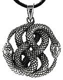 Schlangen Anhänger aus 925 Sterling Silber mit Baumwollband