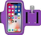Antber Brassard iPhone XS Max en néoprène antisueur antidérapant Brassard Sport iPhone XS Max Brassard Running iPhone XS Max Coque Sport iPhone XS Max avec Support pour Cartes câble clé (Violette)