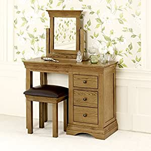 French Louis Oak Dressing Table Set Stool And Mirror