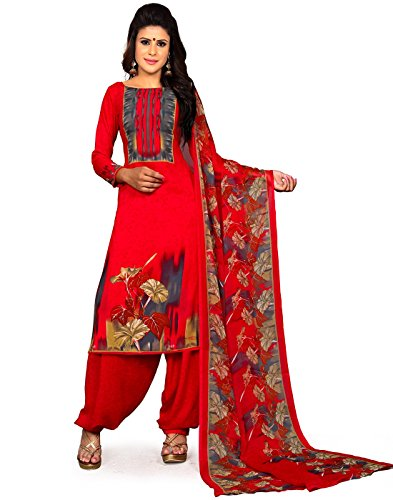 Jevi Prints Women's Unstitched Synthetic Crepe Red Floral Printed Salwar Suit Dupatta...