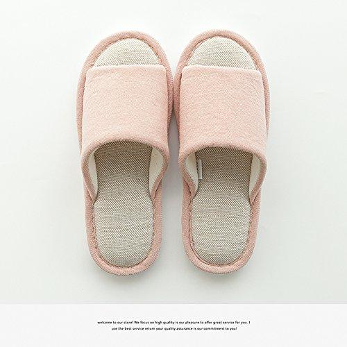 DogHaccd pantofole,Coppie di estate lino pantofole donne indoor semplice antiscivolo per pavimenti morbidi pavimenti in legno ventilazione home le scarpe da uomo Rosa2